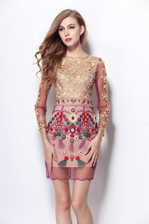 HIGH QUALITY S-XL New Fashion 2017 Women's Long Sleeve Gauze Gold Thread Luxury Embroidery Dress Autumn Dress 2