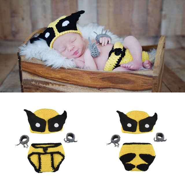 b96d84df5 US $10.6 |2017 Baby Yellow Boys Wolverine Costume Crochet Knitted Baby Hat  Cap and Diaper Cover with Glove Outfits Baby Shower Gifts-in Hats & Caps ...