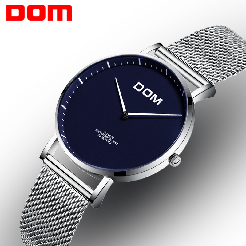Woman Watch DOM Stainless Steel Quartz Top Brand Luxury watches Waterproof Casual Watch Mesh ultra thin female Relogio G-36D-2MS ultra luxury 2 3 5 modes german motor watch winder white color wooden black pu leater inside automatic watch winder