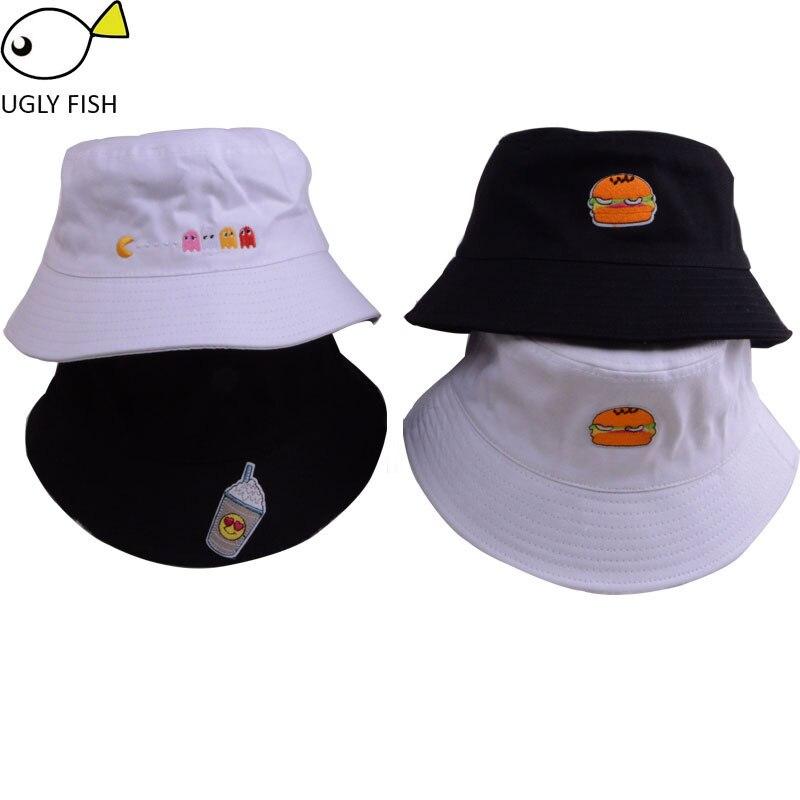 cab9d22cd3d Bucket Hats men women Cartoon Cotton Flat black white Hamburger juice  embroidery cute Bucket Hats