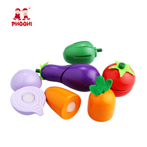 Image 2 - Kids Wooden Cutting Vegetable Toy Children Pretend Kitchen Food Play Toy For Toddler PHOOHI