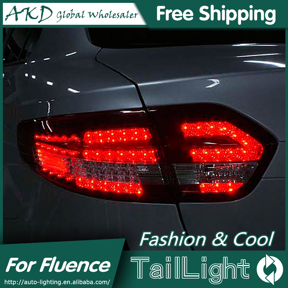 AKD Car Styling for Renault Fluence LED Tail Lights 2010-2014 Almera SM3 Tail Light Rear Lamp DRL+Brake+Park+Signal microfiber leather steering wheel cover car styling for renault scenic fluence koleos talisman captur kadjar