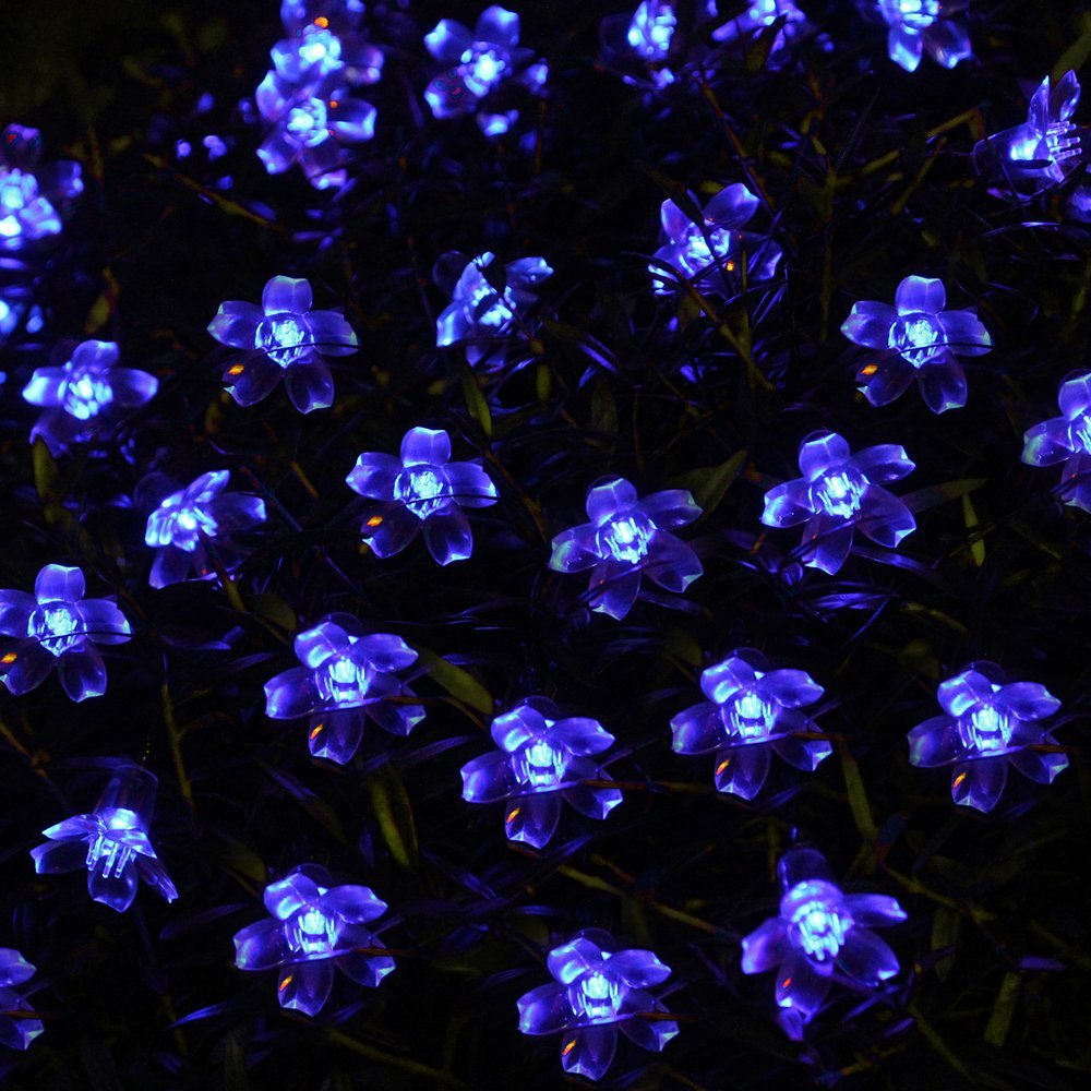 Blue solar party decorations blossom decorative flower string lights blue solar party decorations blossom decorative flower string lights water proof includes 50 led lights in lighting strings from lights lighting on aloadofball Images