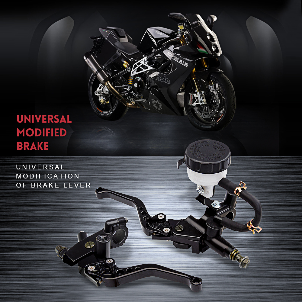 Universal Adjustable Motorcycle Brake Clutch Levers Master Cylinder Reservoir Set For Honda Suzuki Kawasaki Yamaha KTM BMW ATV for honda kawasaki suzuki yamaha 125cc 400cc 7 8 22mm universal brake clutch pump master cylinder kit reservoir levers new set