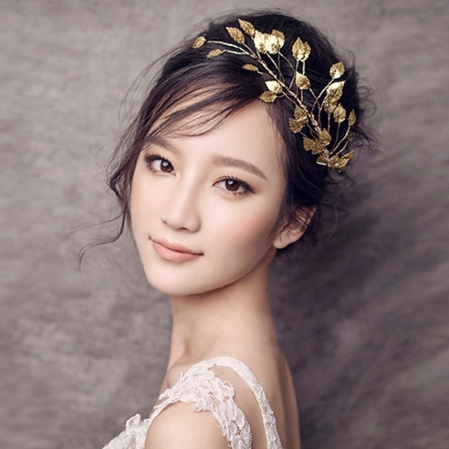 Goddess Greek Bridal Wedding Hair Accessories Chinese Gold Metal leaf Tiara  Bride Headbands Hairpins Clips Forehead 91d626c8d37