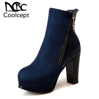 Coolcept 2019 New Women Ankle Boots Star Metal Zipper Platform Winter Shoes Woman Fashion Ladies Footwear Boots Daily Size 34 43