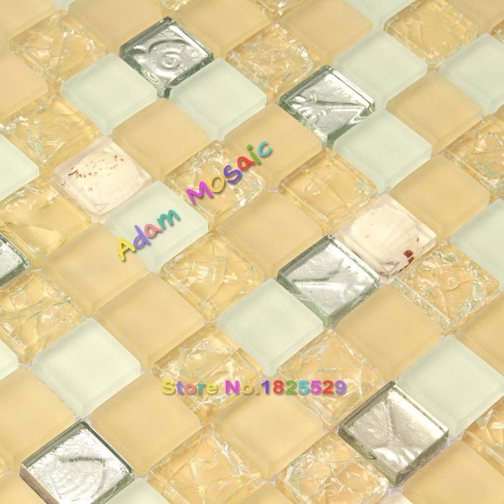 Gelb Muschel Fliesen Kristallglas mosaik Matt Arbeitsplatten ...