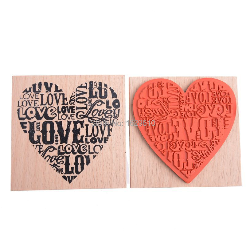 New Creative Retro Wooden Rubber LOVE HEART Stamp For Diary Scrapbooking Card Making DIY Craft Home Decoration diy wooden vintage classic retro lace flower decoration stamp for diary scrapbooking creative gift free shipping 664