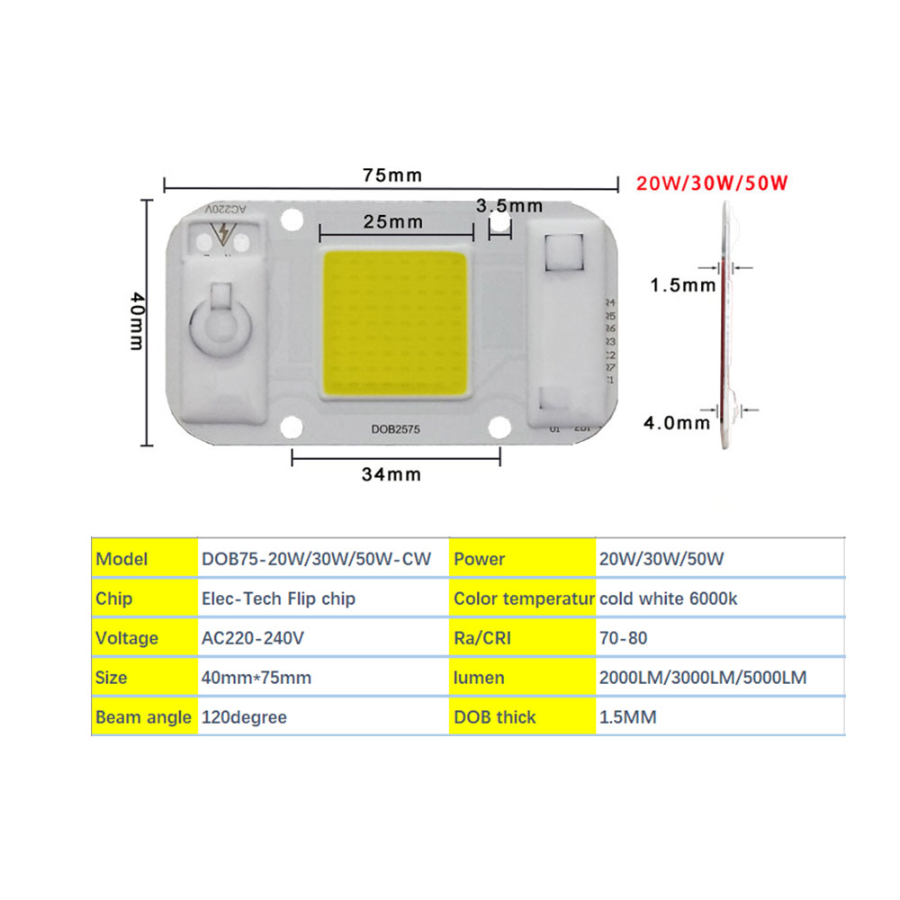 HANGYUE AC220V LED 20W 30W 50W DIY Driverless DOB module chipsi Smart IC Fit For Flood Light Spotlight