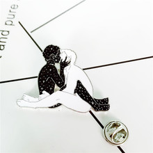 New dark star male and white man kiss Gay love free brooch nude sexy art gift bag clothing pendant jewelry