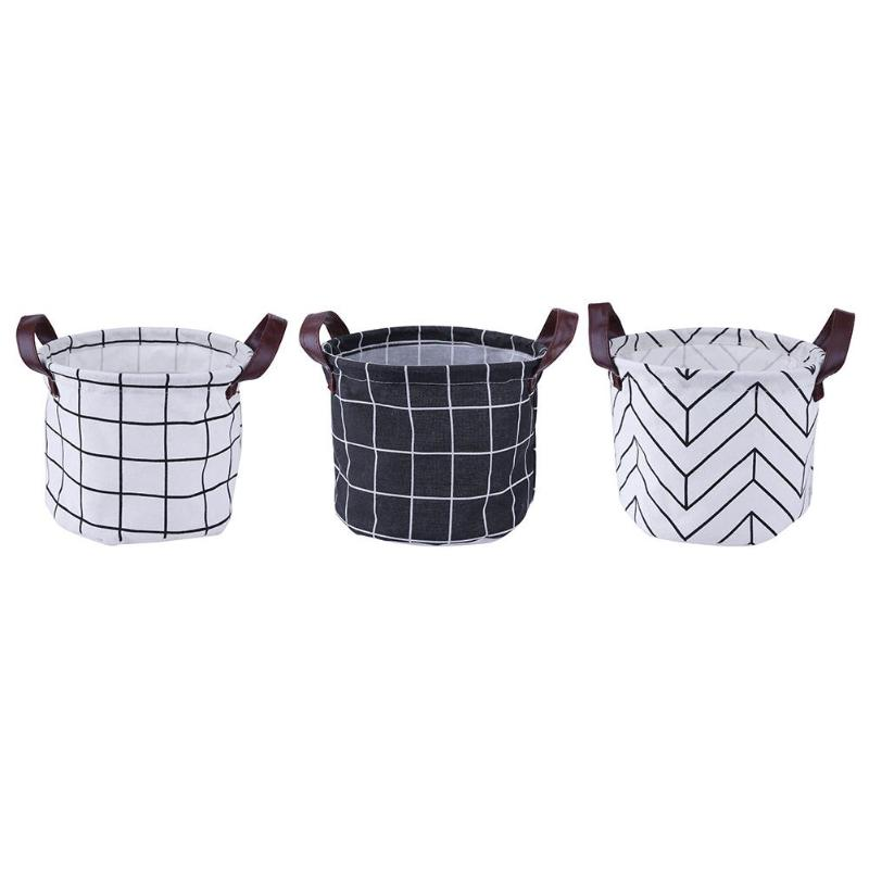 3 Styles Desktop Cosmetic Storage Box Cotton Linen Round Foldable Makeup Toy Holder Organizer Tidy Basket for Home Office Boxes