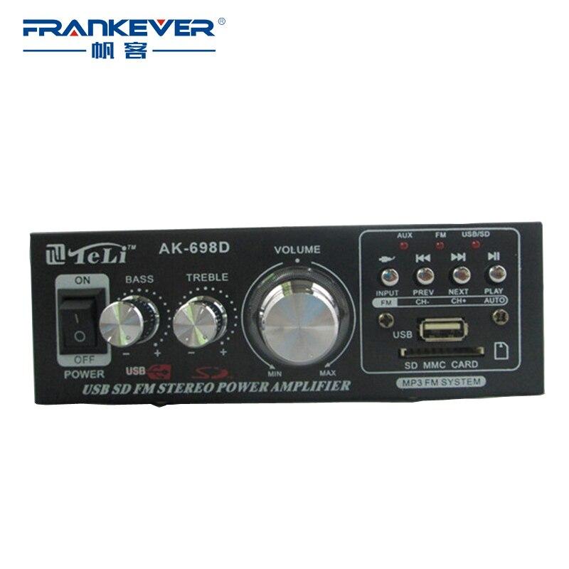 High Quality Amplificador Hi-Fi Audio Mini Power Amplifier 12V-AC 220V HiFi Stereo Car Audio Amplifier 2.1 Free Shipping AK-698D