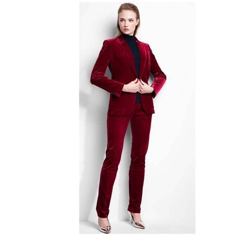 Velours Bordeaux Fzwyii D'affaires Pantalon Rouge Femmes Costume 13TFJlcK