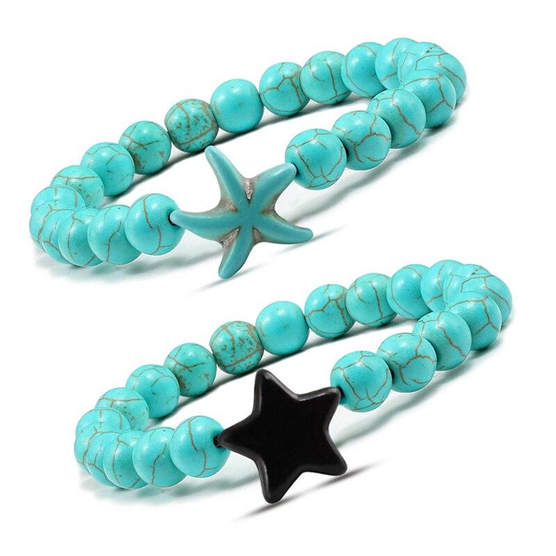 Fashion Blue Turquoises Beads Bangles Bracelet Men Pentagram Starfish Beaded Bracelets for Women Yoga Jewelry pulseira feminina