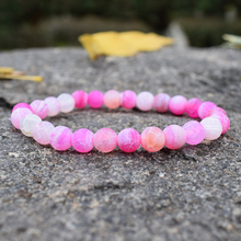 Trendy Pink Weathered Agates Bracelet Women Men Semi-precious Stones Crystal Strand Bracelets for Couple Charm Handwoven Jewelry