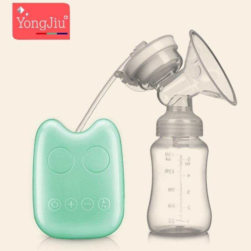 YONG JIU USB Electric breast pumps Powerful Silicone Nipple Big Suction Milk baby bottle Maternal Feeding BPA Free 3 Colors