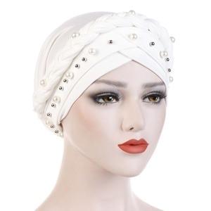 Image 2 - Muslim Women Cross Silk Braid White Pearl Turban Hat Scarf Cancer Chemo Beanie Cap Hijab Headwear Head Wrap Hair Accessories