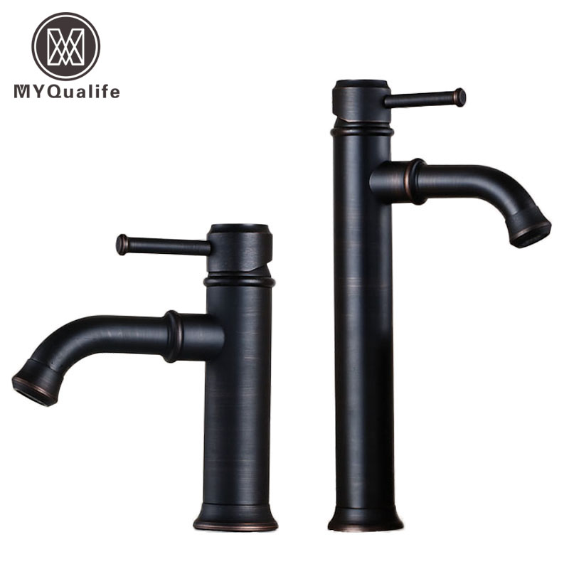 Deck Mounted Oil Rubbed Bronze Bathroom Sink Taps with Hot and Cold Water Single Lever Lavatory Sink Mixer Faucet oil rubbed bronze centerset bathroom vessel sink faucet single lever with hot and cold water black washing basin mixer taps
