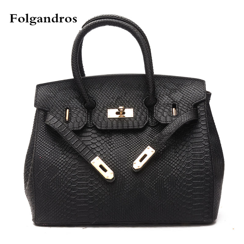 Luxury Snakeskin Pattern Leather Fashion Handbag Platinum Totes Designer Famous Brand Women Bags Casual Shoulder Messenger Bags 2017 new casual snake pattern genuine leather women handbag serpentine fashion shoulder bag luxury brand designer female totes