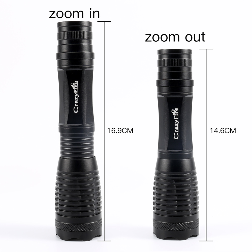 CrazyFire LED Red Green White Blue Bicycle Light CREE T6 Zoomable Tactical Flashlight 5-Mode Lantern Torch For Hunting Fishing