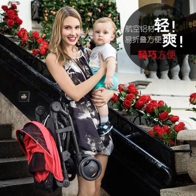 цена на Baby stroller Can Sit Lying Ultra Light Folding Stroller On The Plane Bebek Arabas To Push The Umbrella Carriage