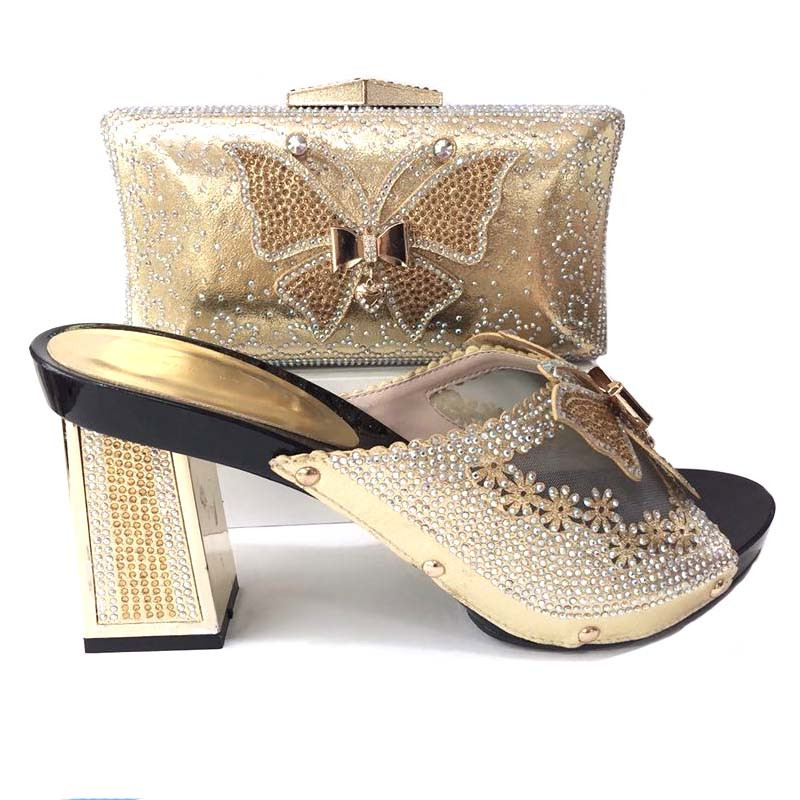 Fashionable gold women pumps and bag with rhinestone butterfly pattern african shoes match handbag set for dress V25899 retro butterfly pattern skater dress