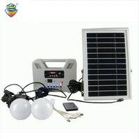 Портативный Солнечные энергетические установки с 2 лампа с регулируемой яркостью/MP3/радио/Bluetooth/пульт дистанционного управления коробка За