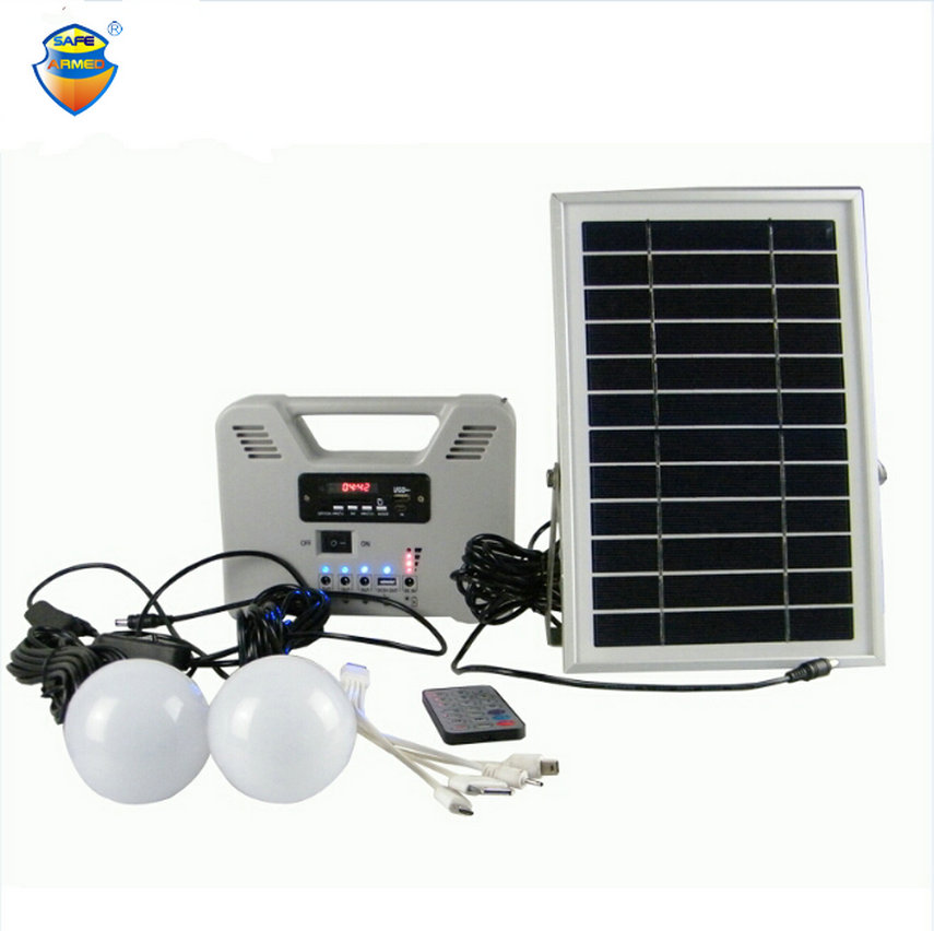 Portable Solar Power System with 2 lighting/MP3/Radio ...