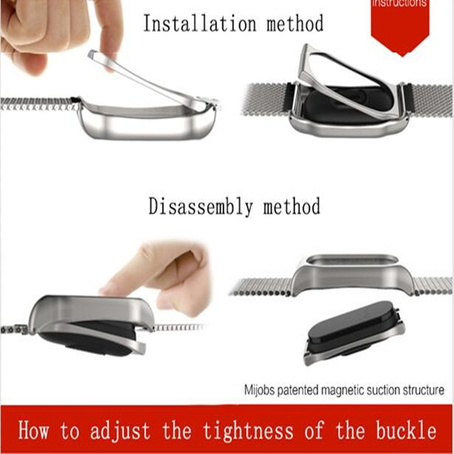 Mijobs Milanese Metal Strap For Xiaomi Mi Band 2 Smart Watch Screwless Stainless Steel Bracelet Miband 2 Strap Wristbands 4