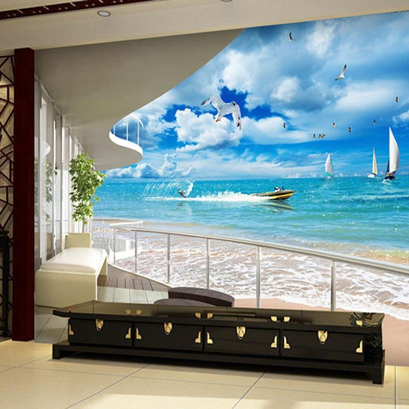 Us 10 95 41 Off 3d Custom Photo Modern Mural Wallpaper Roll Peaceful Sea Beach Sand Ship Blue Sky White Cloud For Living Room Sofa Background In