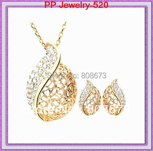 Free shipping Gold Color zinc alloy rhinestone wedding jewelry set 100% quality guarante ...