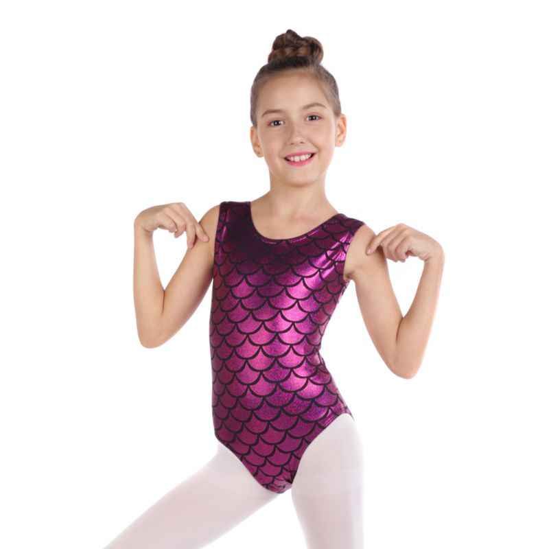 3e8818a9ae Ballet Leotards Kids Children Fish Scale Printed Sparkle Sleeveless  Athletic Gymnastics Costumes Bodysuits Toddler Girls