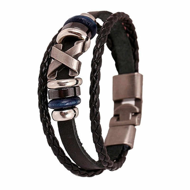 Accessories New Handmade Leather Bracelet Charm Bracelet Men's Leather Bracelet Charm Bracelet Men's and Women's Jewelry 2019