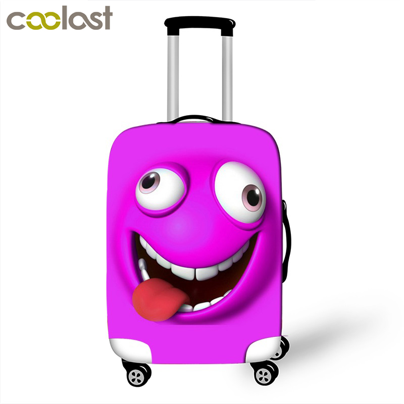 Cartoon Face Luggage Protective Covers Cute Suitcase Cover For Travel 18 To 32 Inch Dust Protection Trolley Luggage Cover