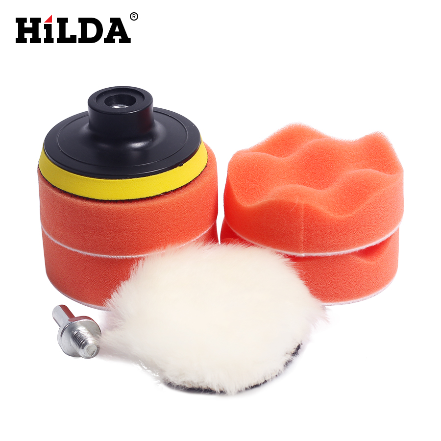 HILDA 7pcs Car Polishing Pad Set Polishing Buffer Waxing Buffing Pad Drill Set Kit Car Polishing Sponge Wheel Kit Polisher