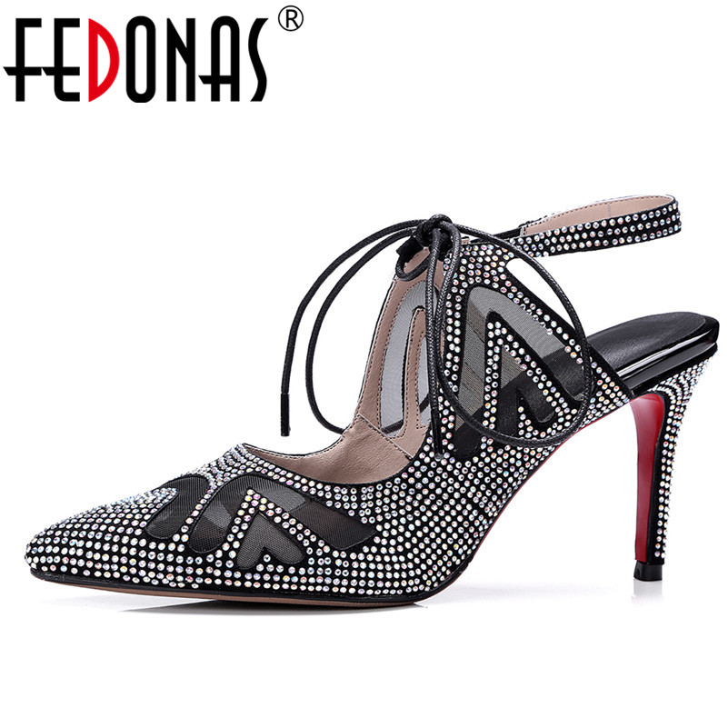 FEDONAS Women Cross Strappy Sandals Sexy Slingbacks Genuine Leather Summer Shoes Woman Glitters Wedding Party Shoes Sandals fedonas new women gladiator sandals wedges high heel fashion ladies glitters wedding party shoes woman platforms summer sandals