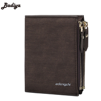 New Double Zipper RFID Blocking Short Wallet Men Multifunction Card Holder Purse With SIM Card Pocket