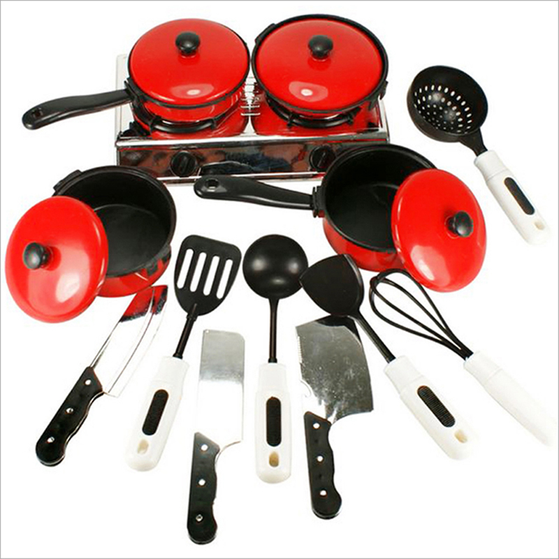 13Pcs Utensils Cooking Pot Pan Cookware Role Play Miniature Simulation Cook Gift For Girl Kitchen Pretend Play House Toy Set