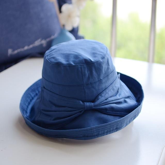 2d80e8f010869 Women Cotton Hats Large Wide Brim Bucket Sun Hats UV Protection Hats  Outdoor Hiking Fishing Beach