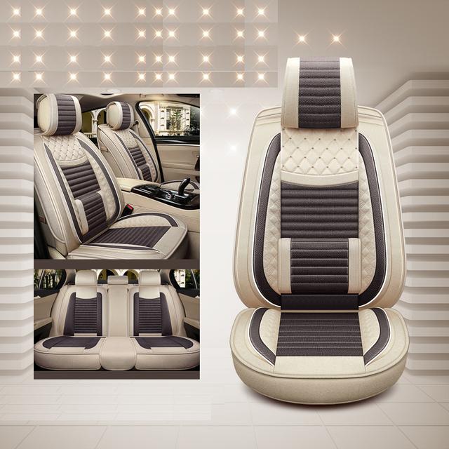 Lino especial de lujo (parte delantera y trasera) fundas de asiento de coche para Skoda Octavia Fabia Super Rapid Yeti Spaceback Joyste Jeti Accesorios