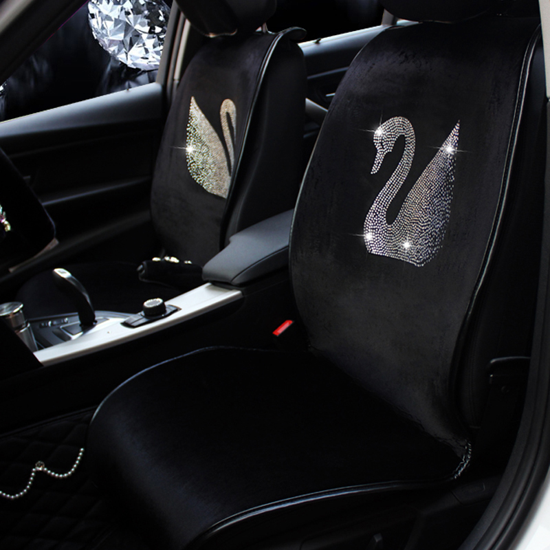 Plush Fur Auto Seat Covers Fashion Diamond Swan Universal Car Seat Cushion Winter Interior Accessories Car Styling for Women car wind leather auto car seat covers for kia sportage 3 camry 40 renault megane 3 interior seat covers for car accessories