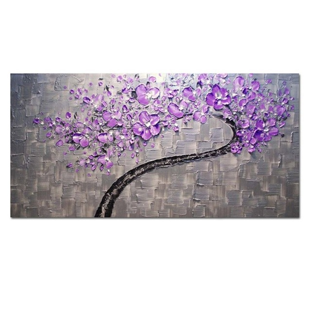 Living Room Hall Wall Art Handmade Landscape Oil Paintings On Canvas Silver Purple Tree For