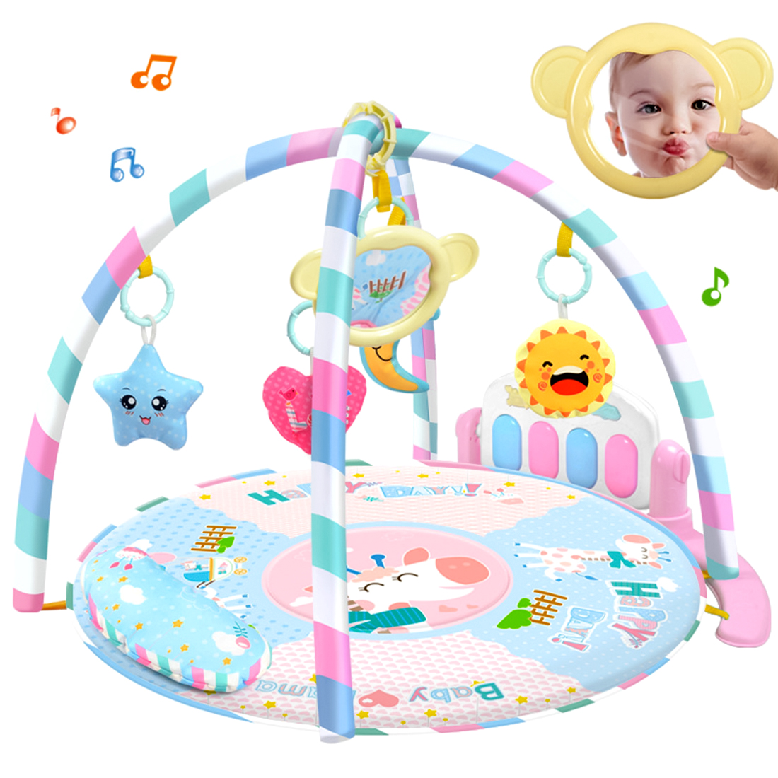 RC Play Mat Kids Rug Educational Puzzle Activity Fitness Rug Musical Piano Game Toys With Light For Baby Infant -Updated Version baby kids toy musical piano activity cube play center with lights mulitfunctions