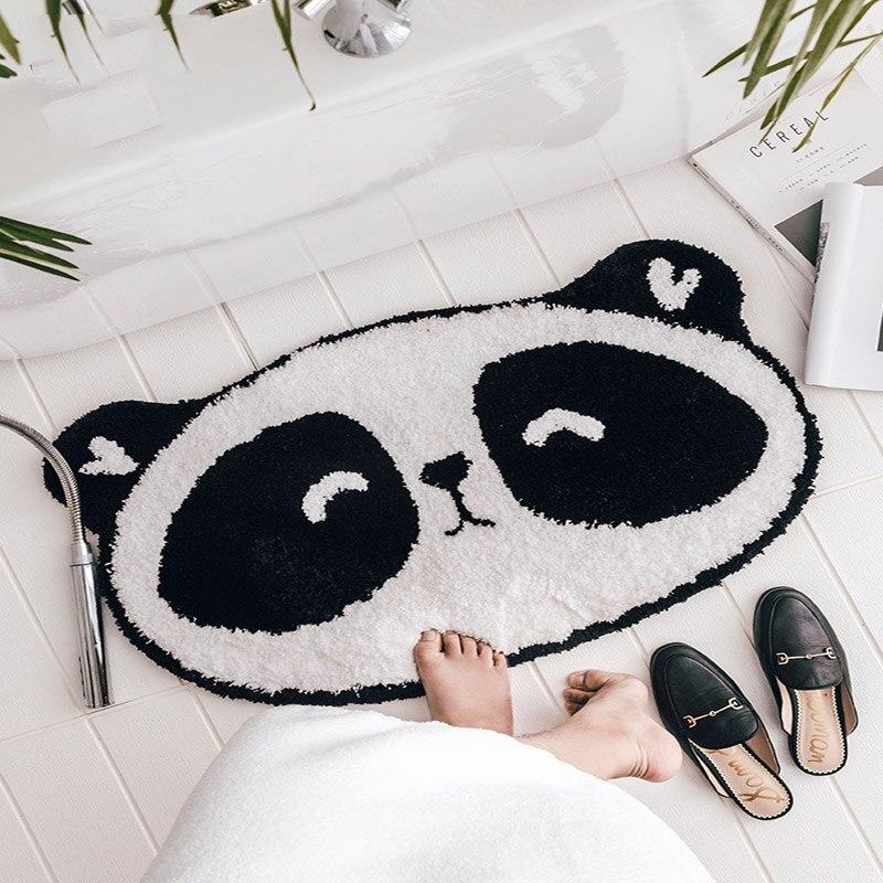 Tapis de bain Super doux en forme de Panda de dessin animé Shag noir et blanc tapis pour enfants/enfants tapis antidérapants en caoutchouc lavables