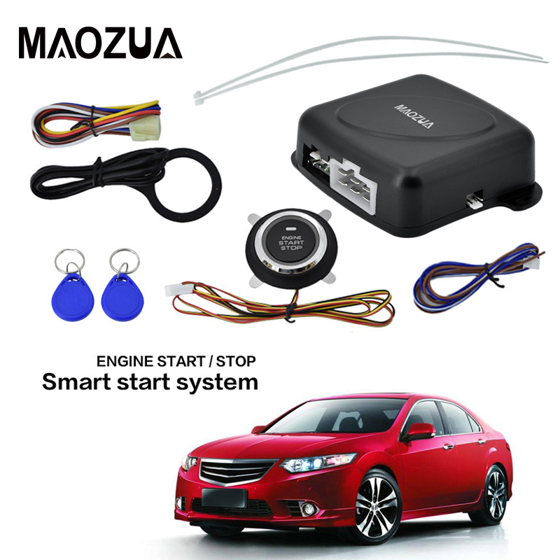Auto Car Alarm Engine Starline Push Button Start Stop RFID Lock Ignition Switch Keyless Entry System Starter Anti-theft System easyguard pke car alarm system remote engine start stop shock sensor push button start stop window rise up automatically