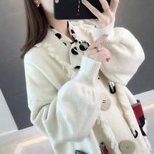 2019 delle donne dei vestiti delle signore tasche patchwork lavorato a maglia cardigan maglioni delle donne di allentato casuale nappa maglione cappotti