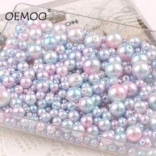 Opcja multi mieszane 4/6/8/10/12mm okrągłe imitacje kolor tęczy plastikowe perłowe koraliki z abs na torby odzieżowe buty