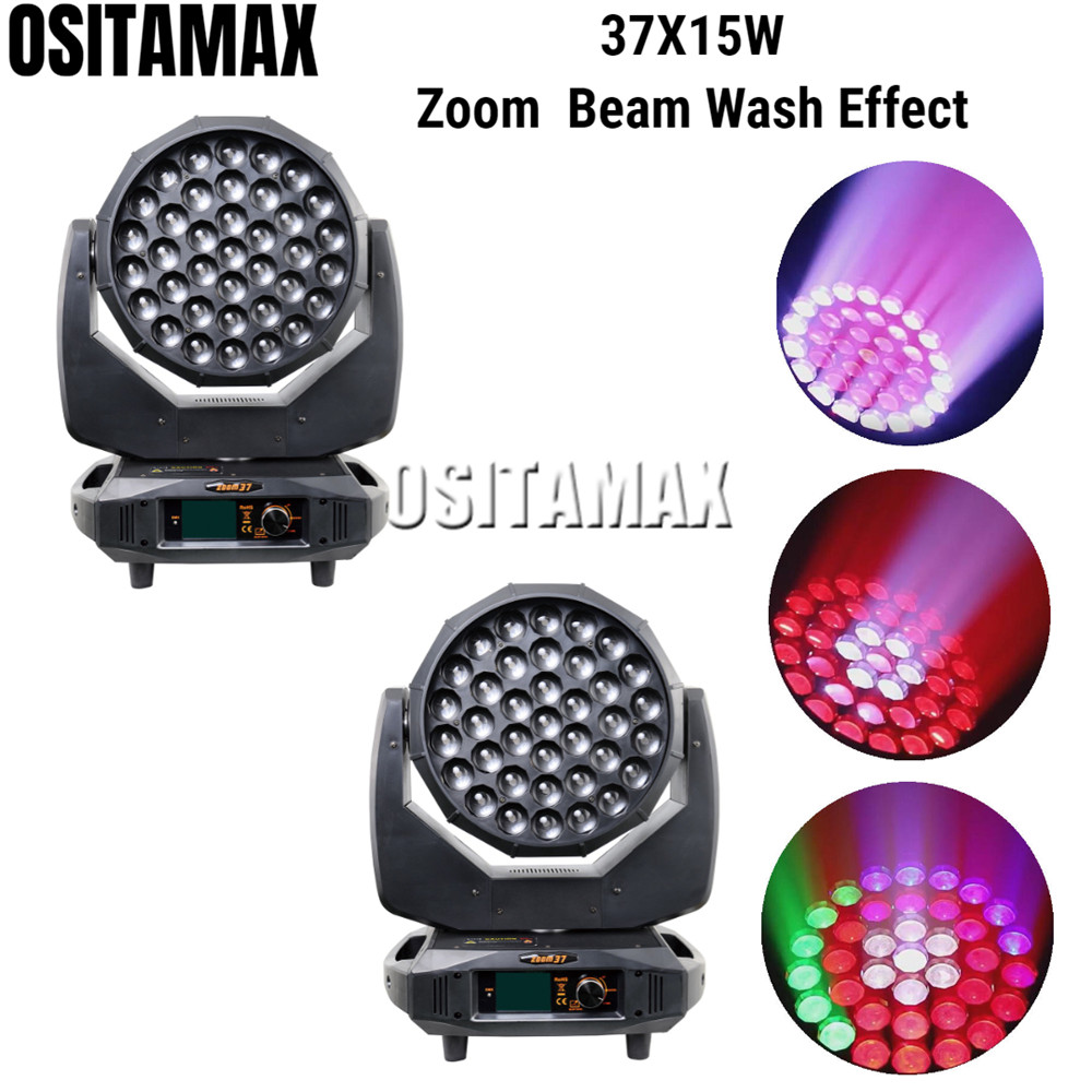 2/LOT New Zoom Wash Moving Head Light 37x15w Beam Disco Light RGBW Circle 4 Color Mixing Excellent Effct Party DJ Stage Light