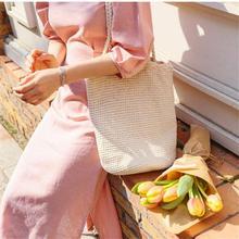 Women Hand Straw Woven Tote Bag Beach Summer Bohemian Style Cotton Braided Single Shoulder Bag Casual Totes Bucket Bags Handbag