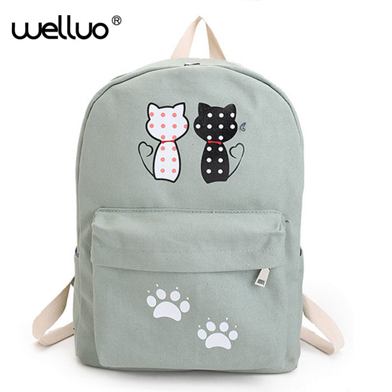 WELLVO Cute Cat Canvas Backpack Cartoon Backpacks For Teenage Girls School Bag Casual Black Printing Rucksack